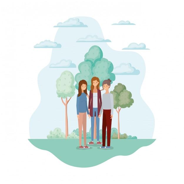 Frauenavatare im park Kostenlosen Vektoren
