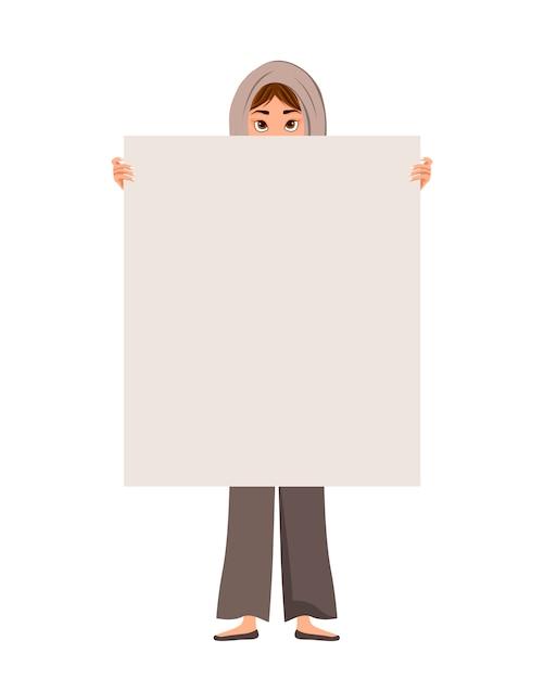 Frauencharakter in einem schal mit freiem blatt auf weißem hintergrund. Premium Vektoren
