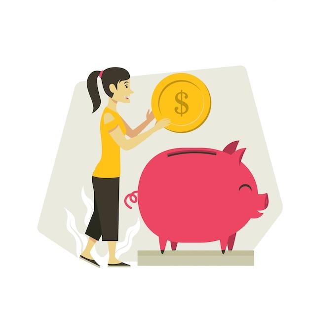 Fraueneinsparung-geldabbildung Premium Vektoren