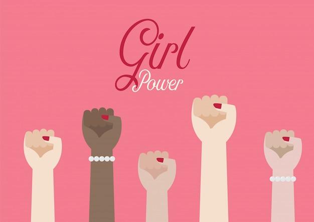 Frauenfausthände und aufschrift mädchenpower Premium Vektoren