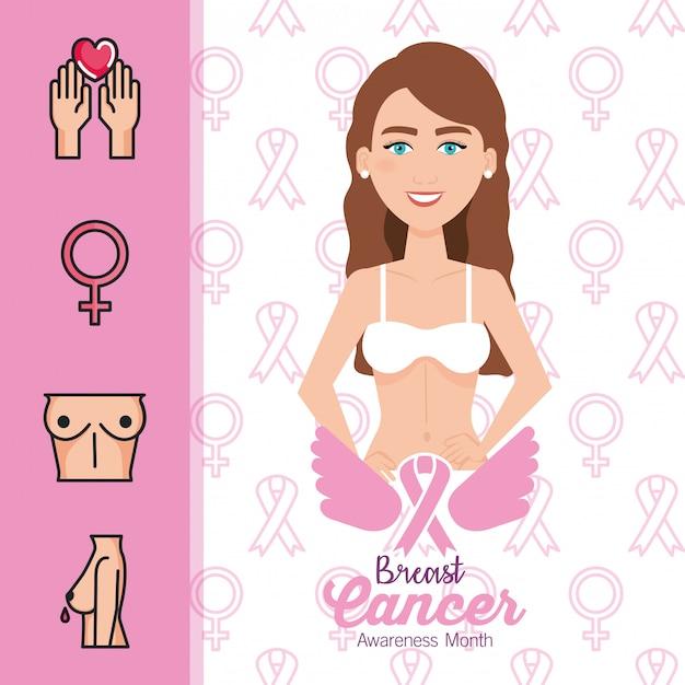Frauenfigur mit brustkrebs Kostenlosen Vektoren