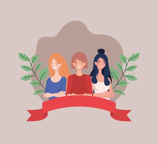 Frauengruppe, die mit band und blättern steht Kostenlosen Vektoren