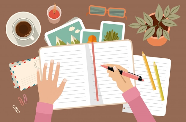 Frauenhände, die stift halten und im tagebuch schreiben. persönliche planung und organisation. arbeitsplatz Premium Vektoren