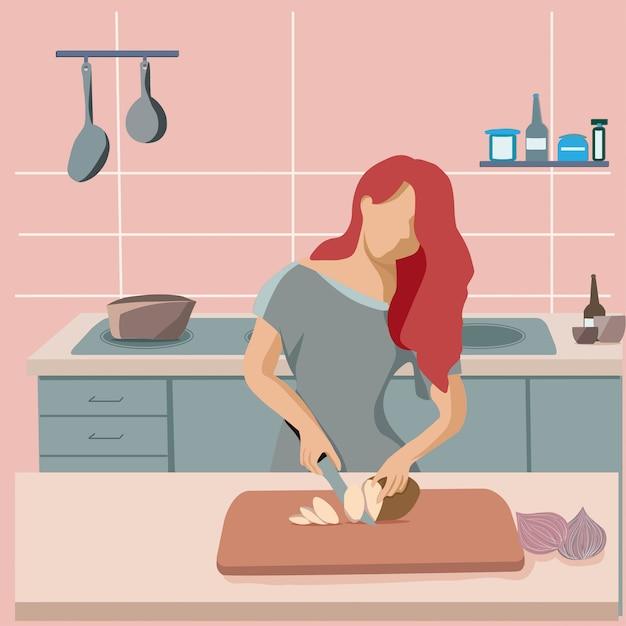Frauenhausfrau, die lebensmittel in der küche zubereitet. Premium Vektoren