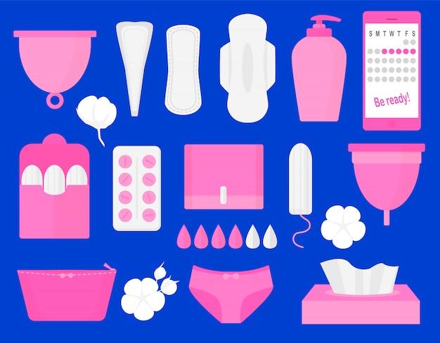 Frauenhygieneprodukte Premium Vektoren