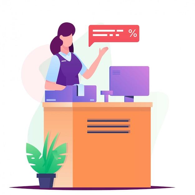 Frauenkassierer auf schreibtischillustration Premium Vektoren