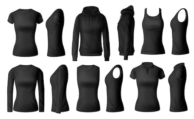 Frauenkleider isolierten schwarze t-shirts polo, hoodie und langarmhemden mit unterhemdkleidungsmodell. realistisches weibliches kleidungsstück 3d, unterwäsche Premium Vektoren