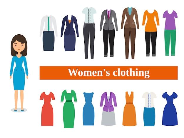 Frauenkleidung. geschäfts- und freizeitkleidung für frauen. Premium Vektoren