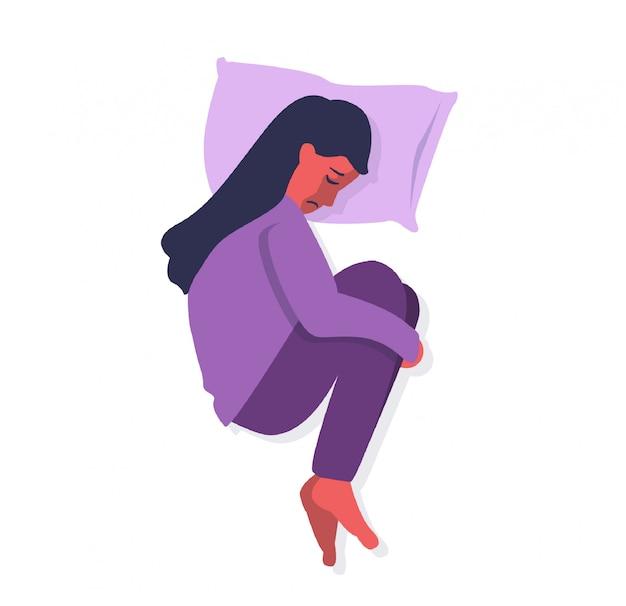Frauenknie der depressionsstörung, die auf dem bett umarmt Premium Vektoren