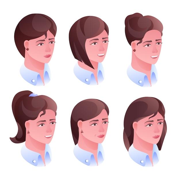Frauenkopf-frisurenillustration für friseursalon- oder avataraprofil in den sozialen netzen Kostenlosen Vektoren