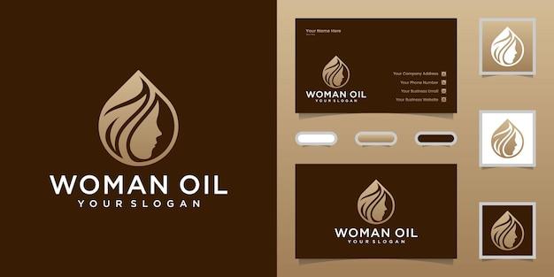 Frauenöl und blattfriseursalonlogo und visitenkartenschablone Premium Vektoren