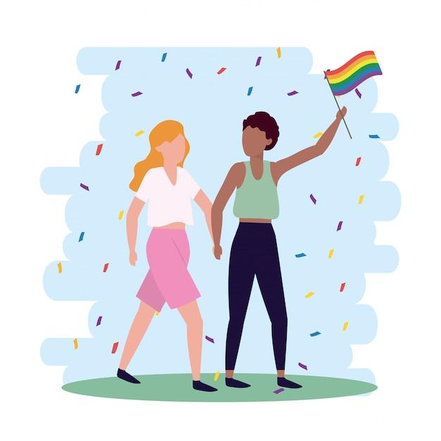 Frauenpaare mit regenbogenflagge zur lgbt freiheit Premium Vektoren