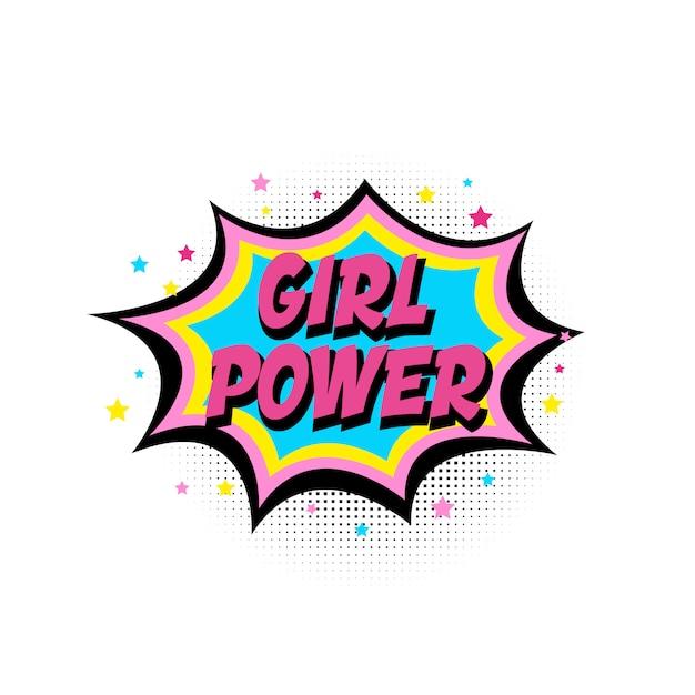 Frauenpower, boomstar. comic-sprechblase mit emotionalem text girl power und stars. Premium Vektoren
