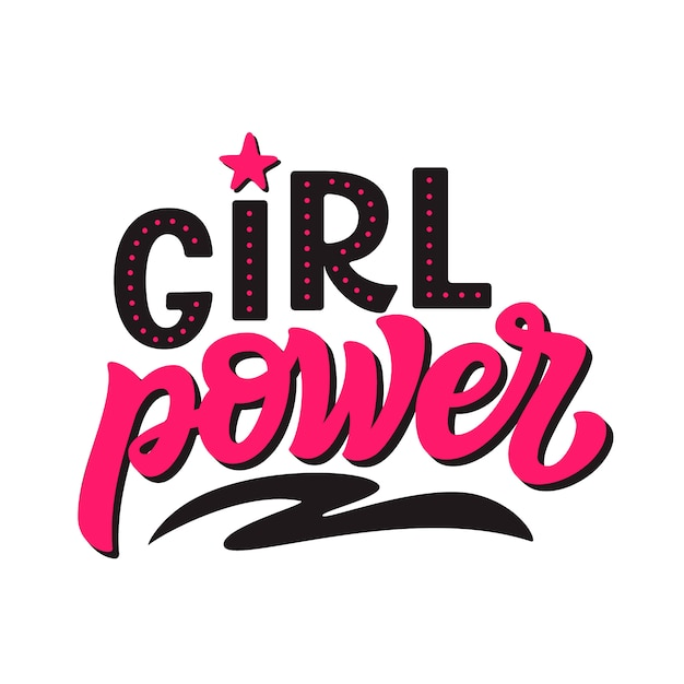 Frauenpower. vektor-kalligraphie-vorlage Premium Vektoren