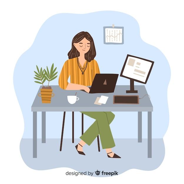 Frauenprogrammierer, der ihre arbeit auf dem laptop erledigt Kostenlosen Vektoren
