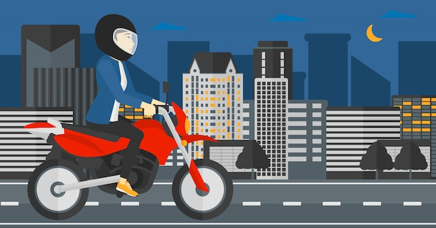 Frauenreitmotorrad. Premium Vektoren