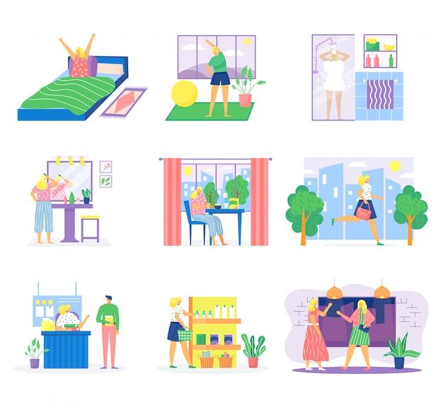 Frauenroutinenillustrationssatz, weibliche karikaturfigur, die morgenfrühstück zu hause, arbeiten im büro, entspannendes schlafen hat Premium Vektoren
