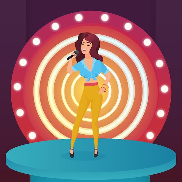 Frauensängerstern, der poplied mit mikrofon singt, das auf moderner bühne des kreises mit lampenillustration steht Premium Vektoren