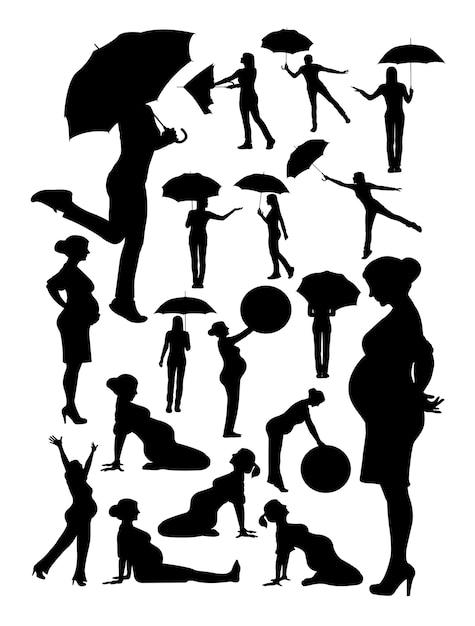 Frauenschattenbild Premium Vektoren