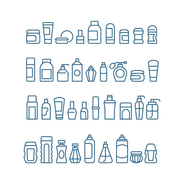 Frauenschönheitsprodukte, kosmetik, körperhautpflege und make-uppaket vector die lokalisierten ikonen Premium Vektoren