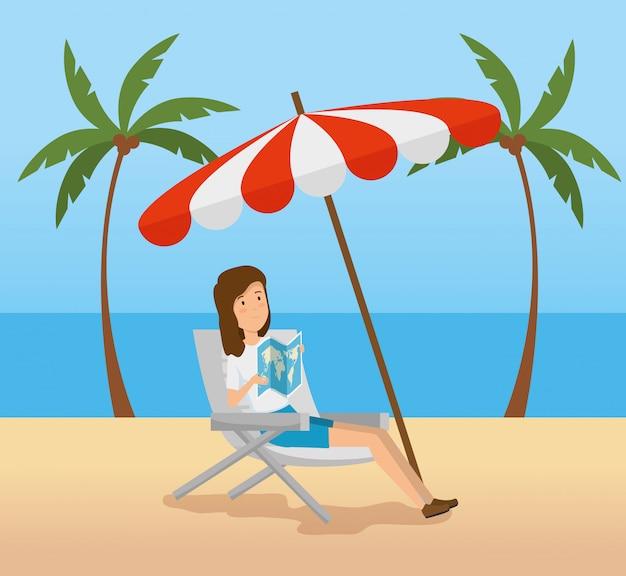 Frauensitzstuhl mit regenschirm im strand Kostenlosen Vektoren