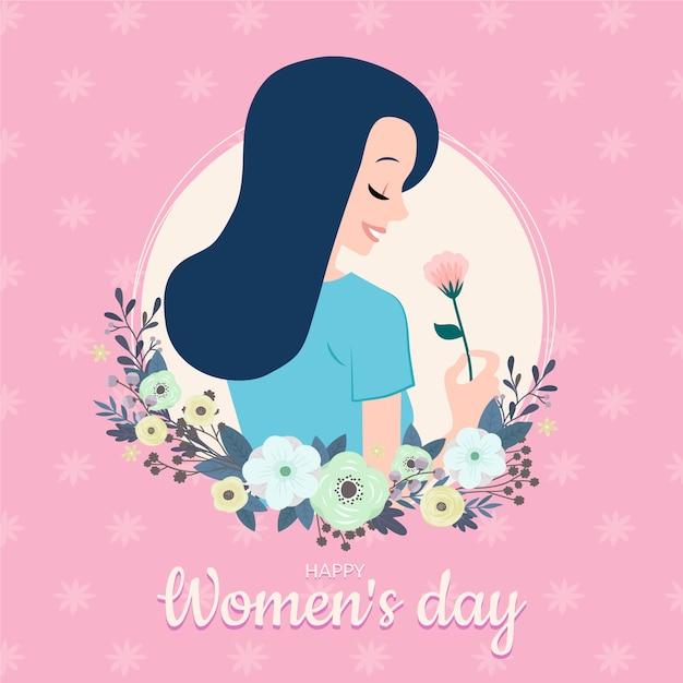 Frauentag mit der frau, die eine schöne blume riecht Kostenlosen Vektoren