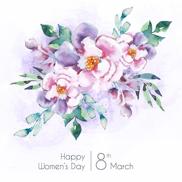 Frauentag schriftzug mit schönen aquarell blumen Kostenlosen Vektoren