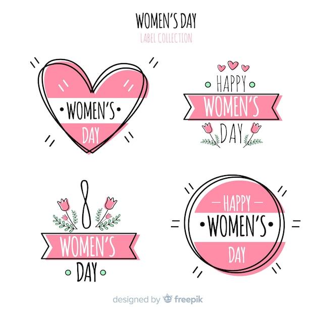 Frauentagslabelsammlung Kostenlosen Vektoren