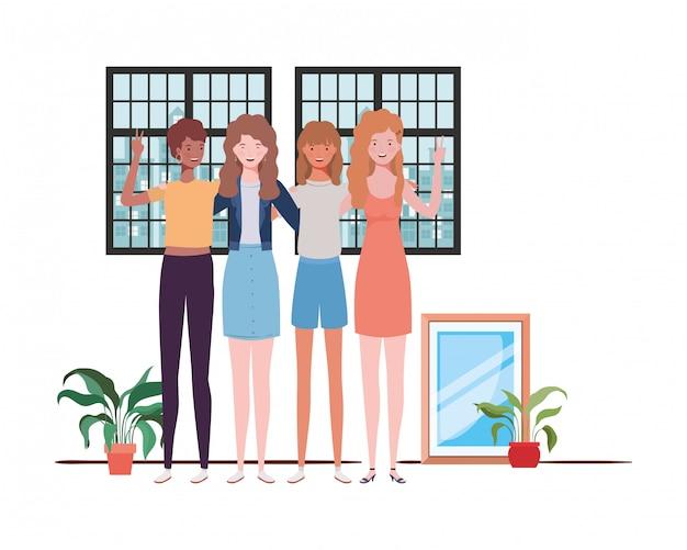 Frauenwohnzimmer mit ansicht die stadt durch fenster Premium Vektoren
