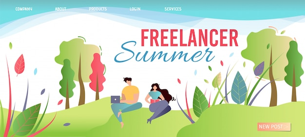 Freelancer summer landing page. bieten sie arbeit überall an. Premium Vektoren
