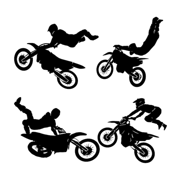 Freestyle-fahrer motocross-set-logo-designs Premium Vektoren