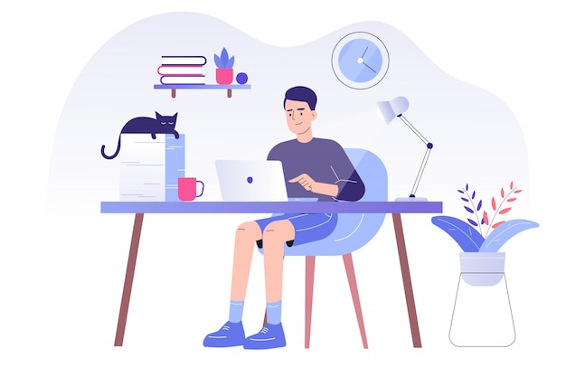 Freiberufler mann sitzt auf einem schreibtisch und arbeitet online mit einem laptop zu hause Premium Vektoren