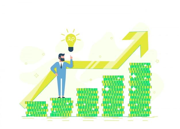 Freiberuflich verdient ein programmierer geld. bürounternehmer auf einem stapel münze, der einen goldenen dollar zeigt. kreditangebot, bankinvestition oder refinanzierung. flache illustration. Premium Vektoren