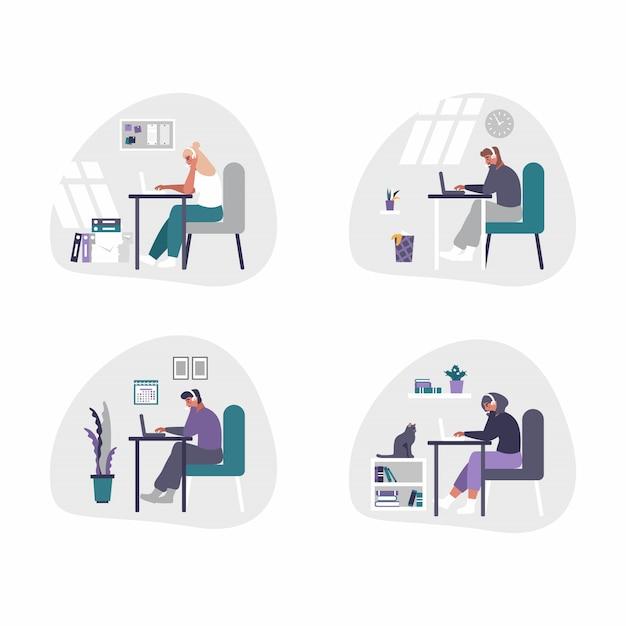 Freiberufliche und geschäftliche männer und frauen, die von zu hause aus arbeiten - home-office-konzeptillustration. männer und frauen sind müde, gelangweilt und schlafen am schreibtisch mit laptop ein. Premium Vektoren