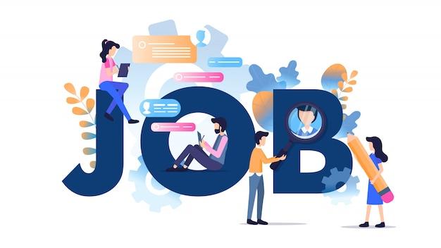 Freiberuflicher charakter modern job typography banner Premium Vektoren