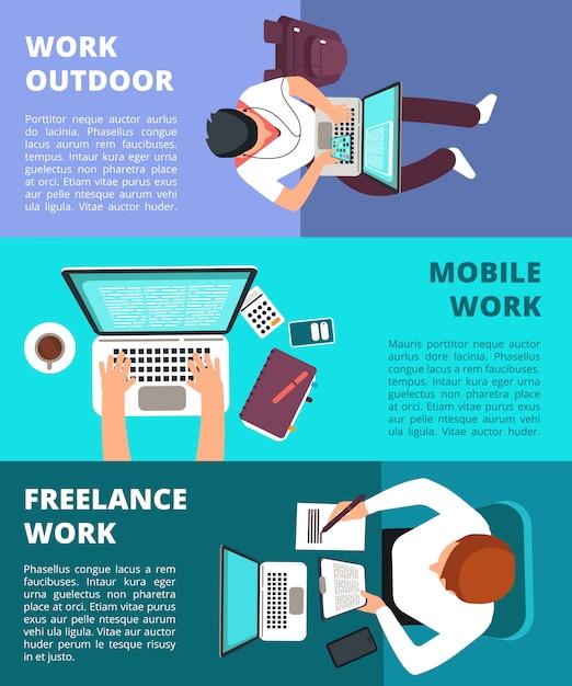 Freiberuflicher journalist, der am laptop arbeitet. heimarbeit, geschäftsschreiben und freiberuflicher fahnenschablonensatz Premium Vektoren