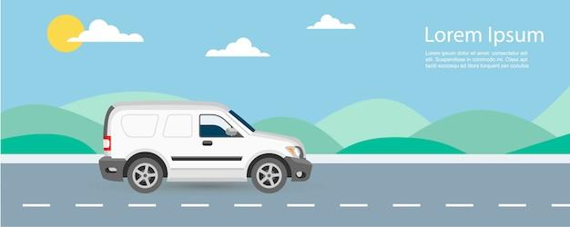 Freie und schnelle lieferungsillustration van-autos mit textschablone. van fahren auf der autobahn mit blauem himmel und grünen hügeln. Premium Vektoren