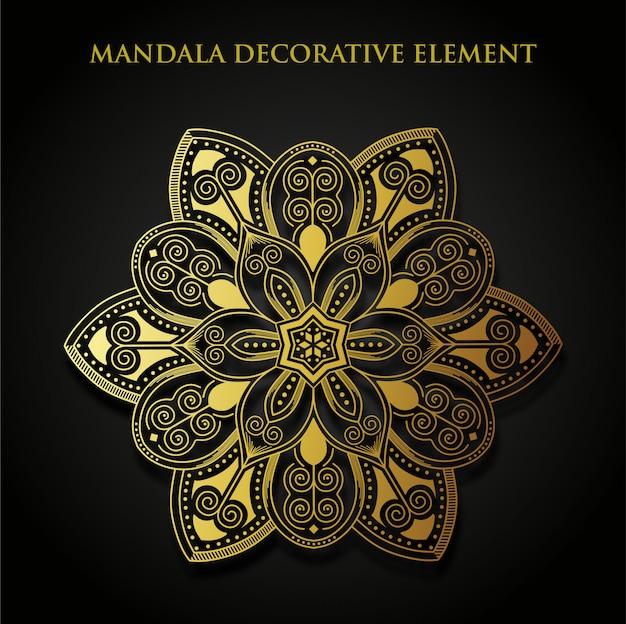 Freier vektor des dekorativen elements der goldmandala Premium Vektoren
