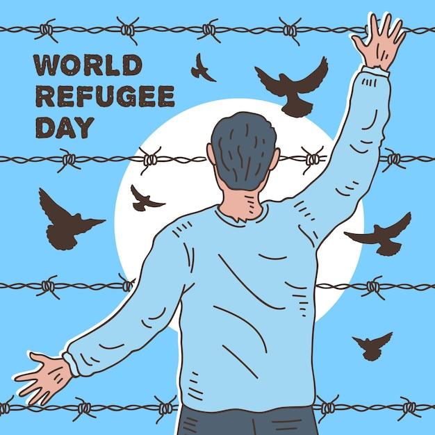 Freier vogel und käfigmann konzept flüchtlingstag Kostenlosen Vektoren