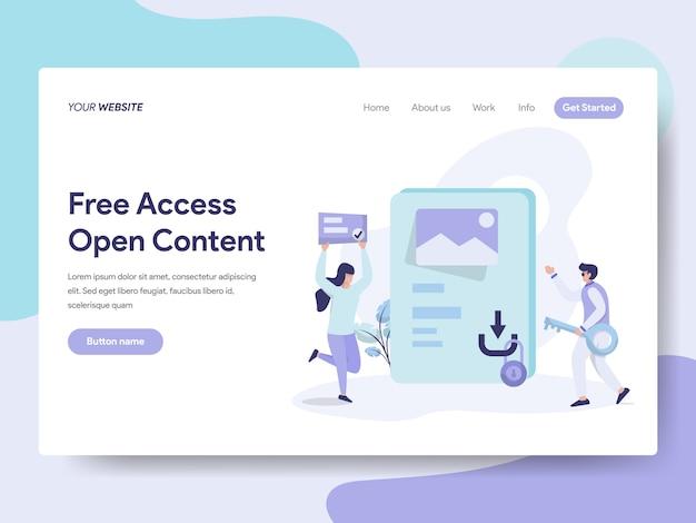 Freier zugriff und open content for web page Premium Vektoren
