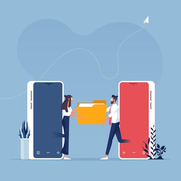 Freigabe oder übertragung von dateien oder dokumenten auf mobiltelefonen - business-technologiekonzept Premium Vektoren