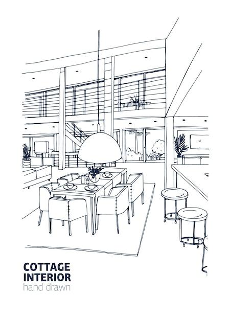 Freihandzeichnung von wohnhaus oder sommerhaus interieur im trendigen skandischen stil eingerichtet Premium Vektoren