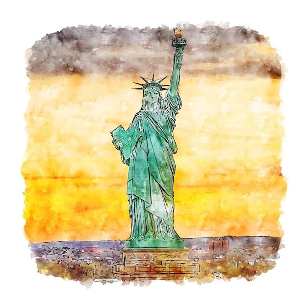 Freiheitsstatue new york aquarell skizze hand gezeichnete illustration Premium Vektoren