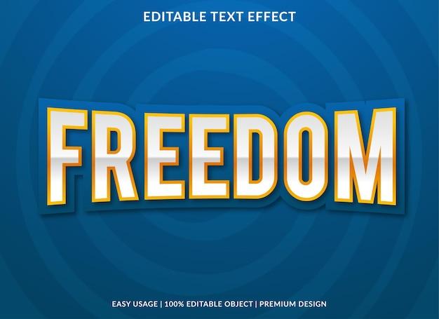 Freiheitstext-effekt mit fettem stil Premium Vektoren