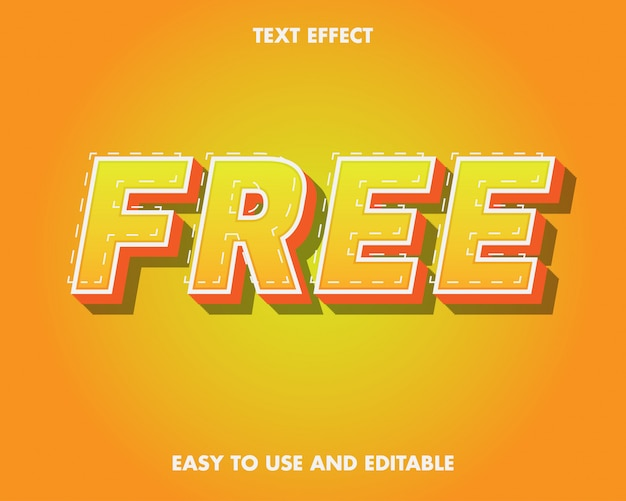 Freitext-effekt. bearbeitbarer texteffekt und einfach zu bedienen. premium-vektor-illustration Premium Vektoren