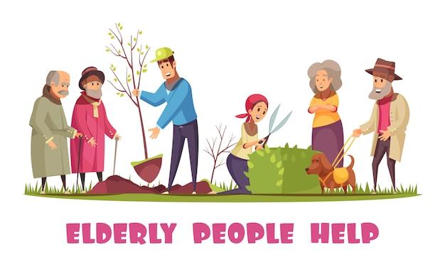 Freiwillige, die älteren menschen mit dem pflanzen von bäumen helfen, hecken zu trimmen, horizontale zusammensetzung der flachen karikatur der gartenarbeitaufgaben Kostenlosen Vektoren