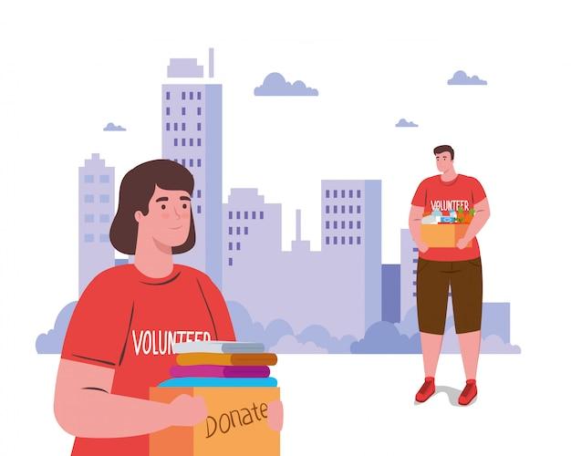 Freiwillige frau und mann mit spendenboxen Premium Vektoren
