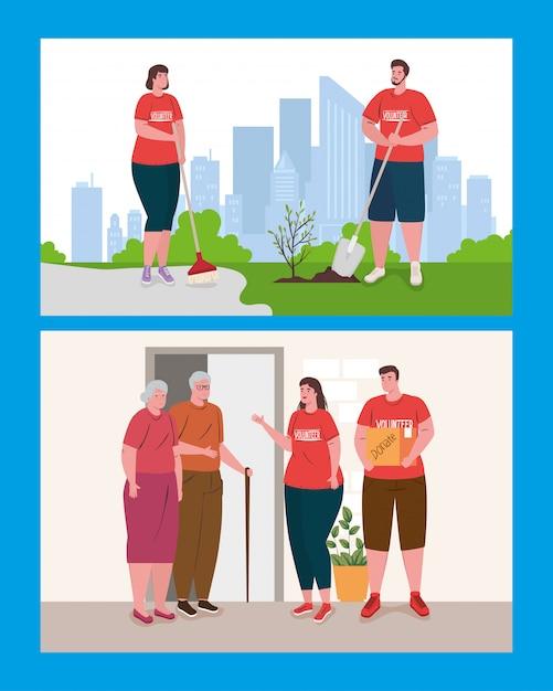 Freiwillige frauen mit spendenbox Premium Vektoren