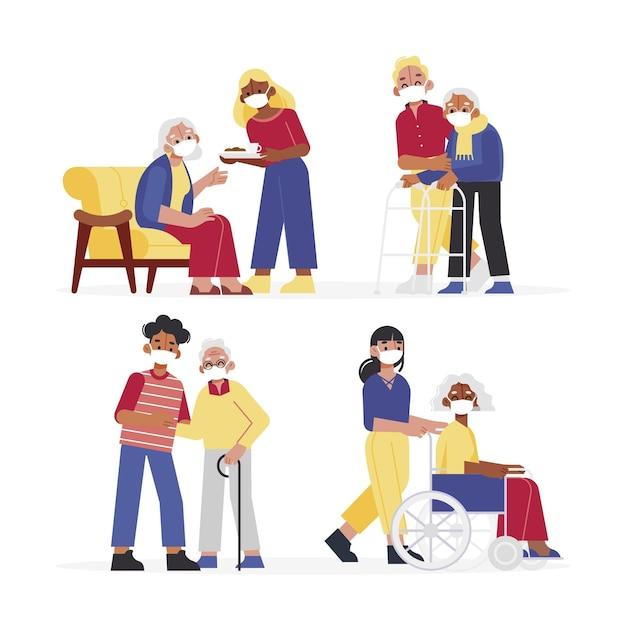 Freiwillige helfen älteren konzept Kostenlosen Vektoren