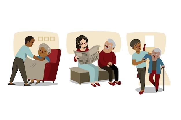 Freiwillige helfen beim sammeln älterer menschen Kostenlosen Vektoren